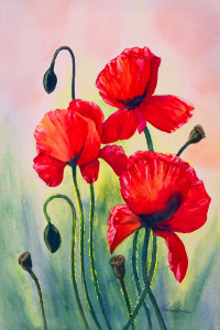 Three Poppies by LouAnn Hoppe