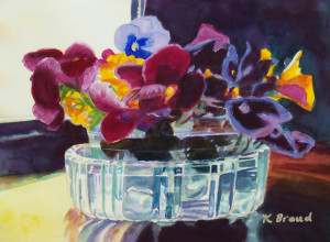 Kathleen Braud 'Pansies in a Crystal Vase' - Honorable Mention